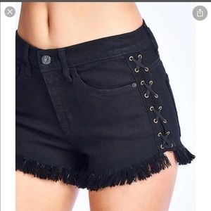 High Waisted Lace up Black Shorts